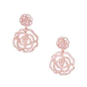 New Kate Spade Crystal Rose Gold Drop Earrings